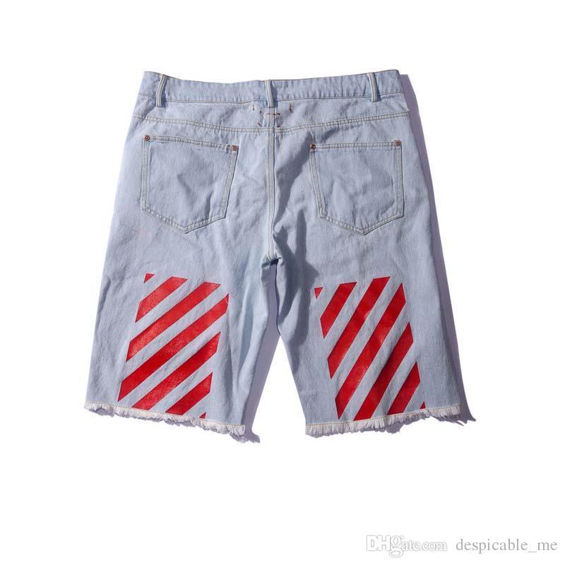 Best 2016 New Arrive Off White Men Jeans Shorts Back Red Stripes ...