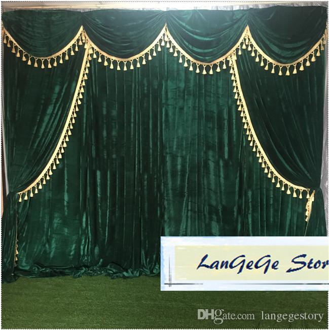 Черновато зеленый банкетных фоны ламбрекены и кисточка отделки украшения / золото бархатных штор для партии или свадеб / Бесплатная доставка / 10ft * 10ft