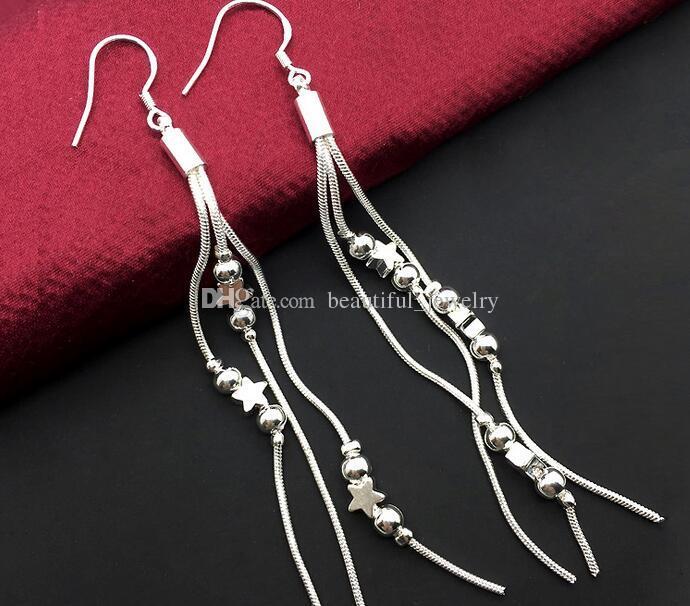 Venda quente de alta qualidade chapeamento 925 brincos de prata para as mulheres moda jóias charme borlas brincos ordem mista 20 estilo 10 pares / lote
