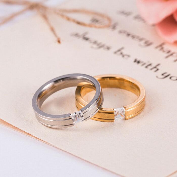 Mulheres Boêmio Anéis de Aço Inoxidável 316L Casal Anéis CZ Zirconia Encantos Jóias de Casamento Banhado A Ouro 18 K / Banhado A Prata