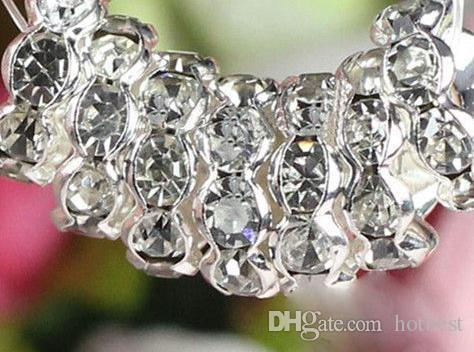 8mm 10mm White Clear Crystal Rhinestone Rondelle Wave Spacer Beads ... 41af9ed319ae