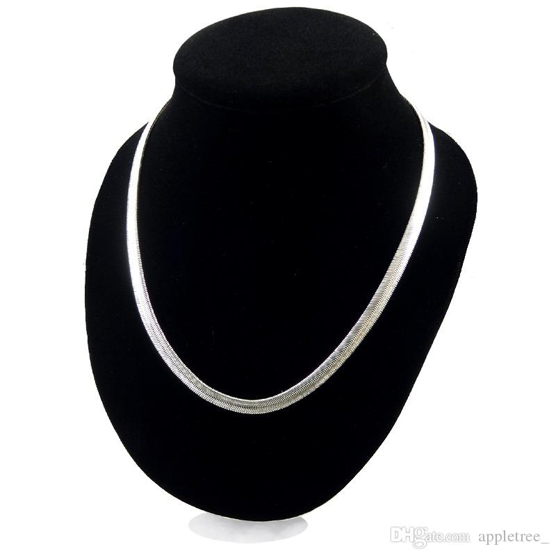 6MM 925 Silver snake chain Necklace for Men Women 16 18 20 22 24 inch Plated Collarbone chains womens mens Fashion Jewelry wholesale