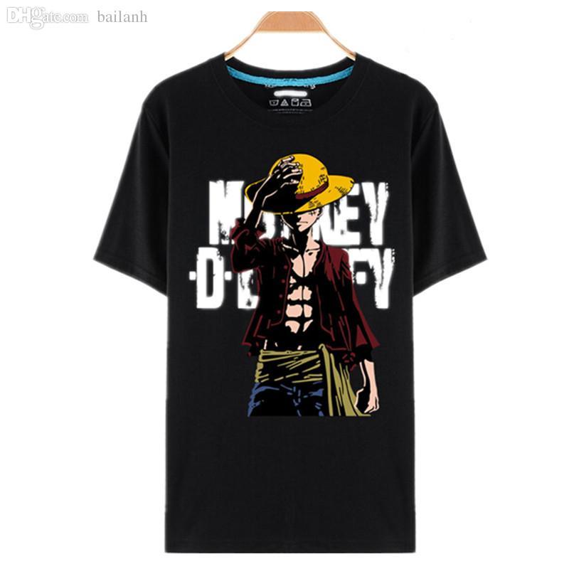 616c44306 Atacado-One Piece T Shirt Luffy Chapéu De Palha Anime Japonês T Camisas  O-pescoço Preto T-shirt Para Homens Anime Design One Piece T-shirt camisetas