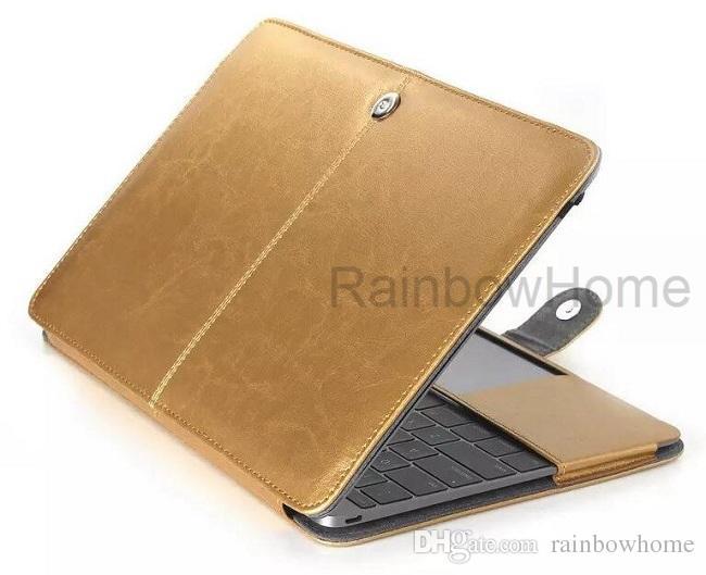 Couverture de protection en cuir PU pour MacBook Air Pro avec rétine 12 13 15 16 pouces Protection des ordinateurs portables Pliants Style de mode