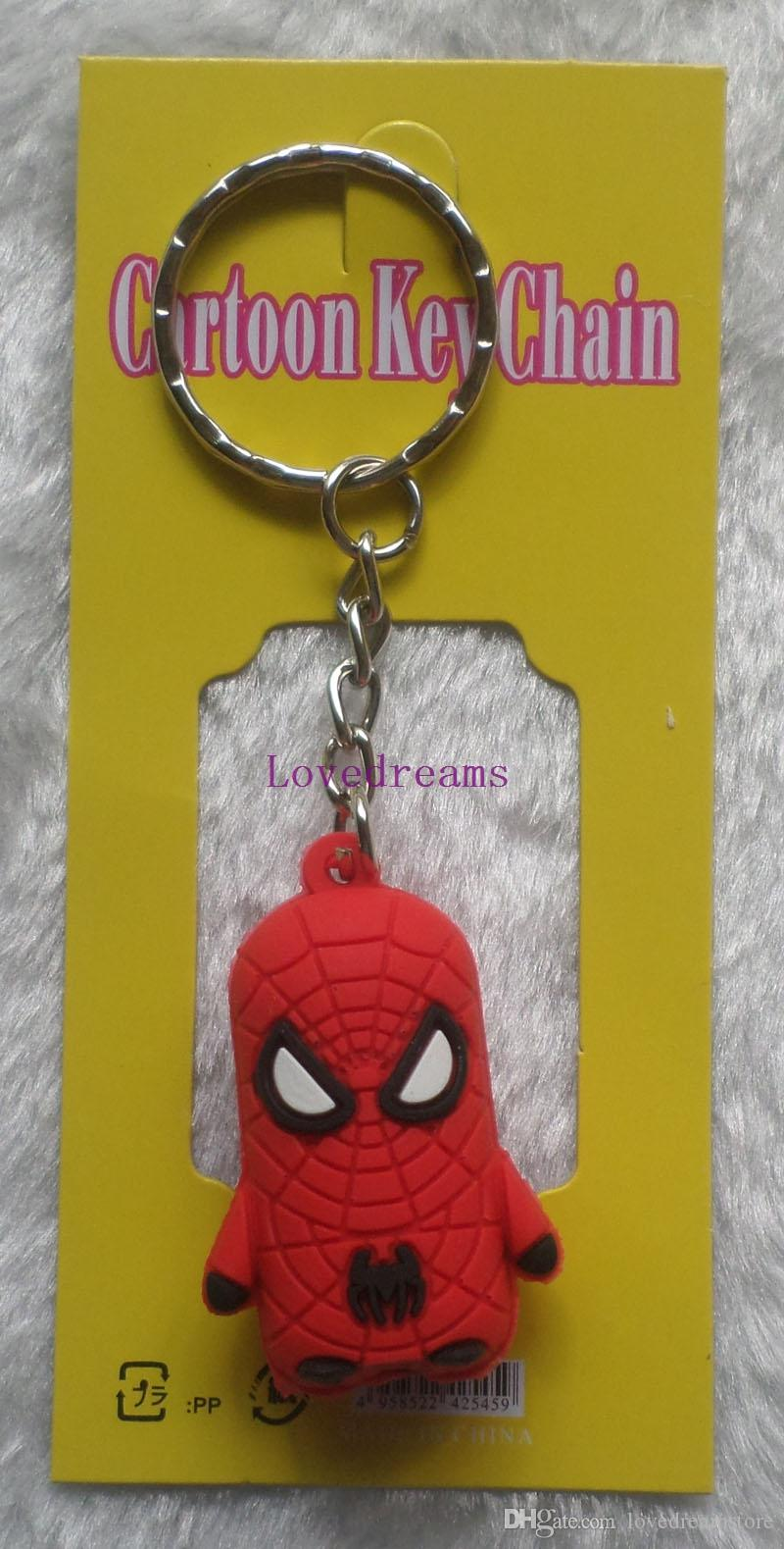 24 pezzi / 2 fogli supereroi Spiderman Thor Batman Iron Man Captain America Hulk portachiavi in gomma morbida portachiavi