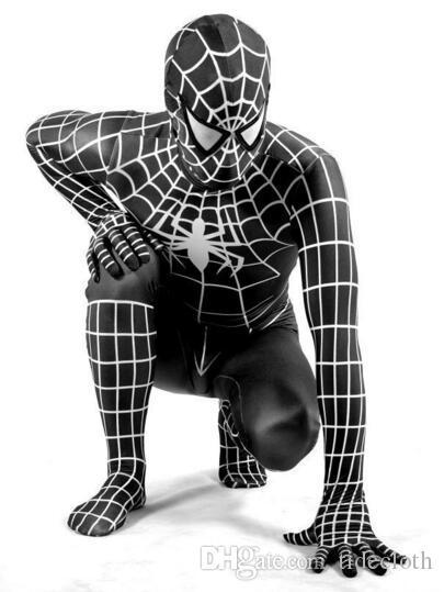Nuovo 2017 Spider-Man Venom nero Bambini Adulto Supereroe Lycra Spiderman Hero Zentai Costume di Halloween con maschera