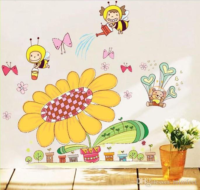 Cartoon bees sunflower wall stickers children room Kindergarten background decorative wallpaper waterproof wall stickers