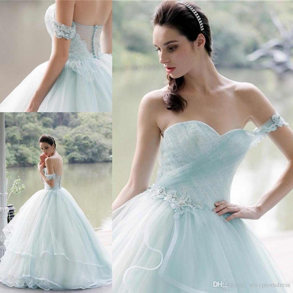 Light Blue Off One Shoulder Wedding Dresses 2017 Lace Applique Tulle ...
