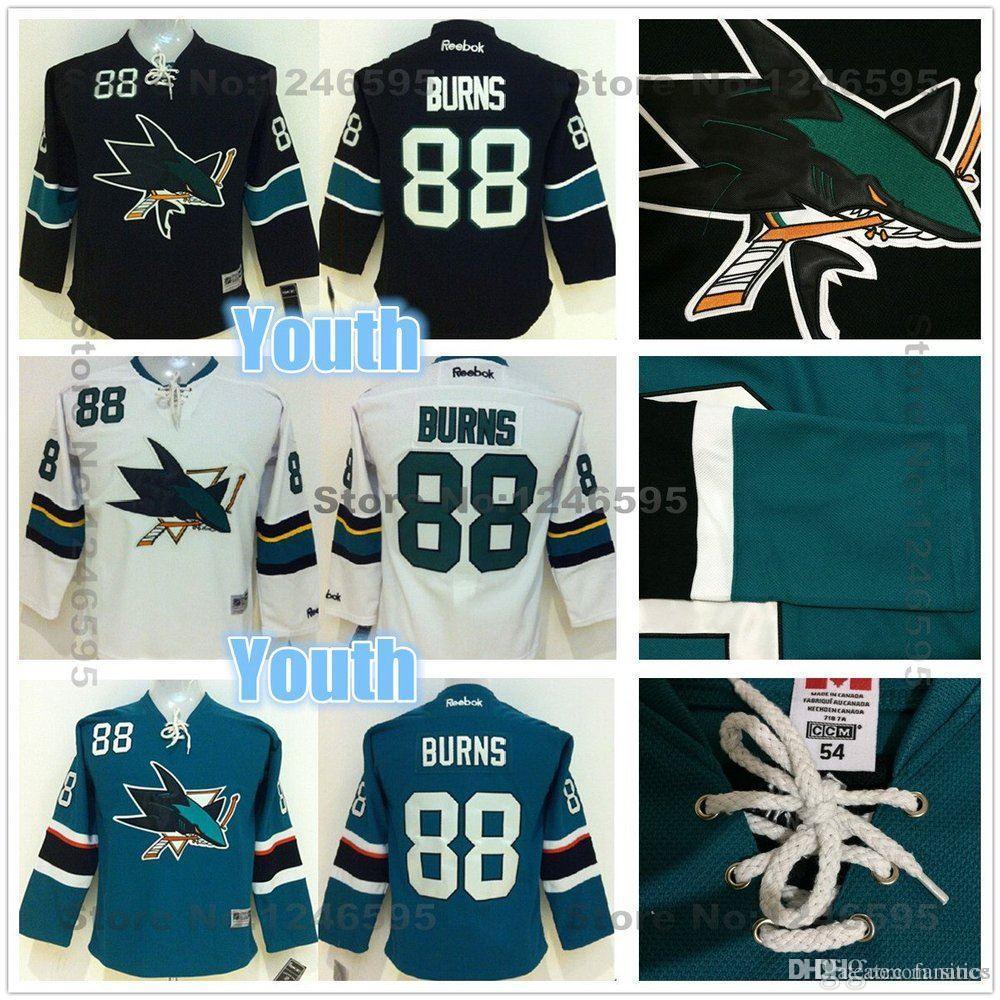quality design 94fce 0912c 2016 Cheap Kids #88 Brent Burns Jersey Youth San Jose Sharks Hockey Jerseys  Home Green Black Stitched Boys Brent Burns Hockey Jersey