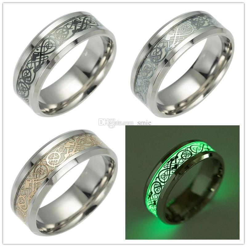 4ef784b675c0e Compre Nuevo Mens Ring Luminous Dragon Anillos Para Hombres Negro Oro Plata  Acero Inoxidable Mujeres Anillos Glow In The Dark Anillo Masculino Joyería  A ...