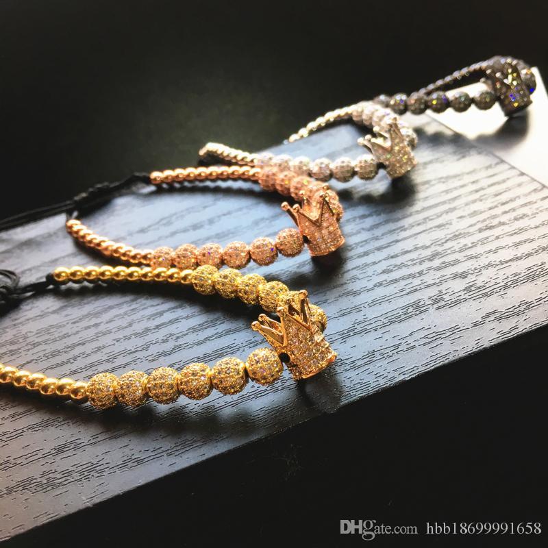 Moda Hombres Strands Micro Pave CZ Cz Cubic Zircon Joyería Charm de la corona y perlas redondas de 4 mm Pulsera trenzada Pulseira Femenina Macrame