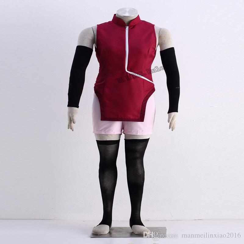 COS Anime HOT Sale NARUTO THE MOVIE Uchiha Sarada 1st Cosplay Costume Cheongsam Customize Uniform Handmade