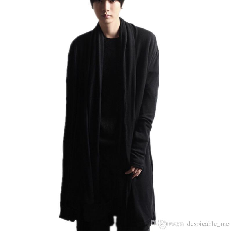 2018 Shawl Cardigan Men New Hip Hop Extended Cloak Men Fashion ...