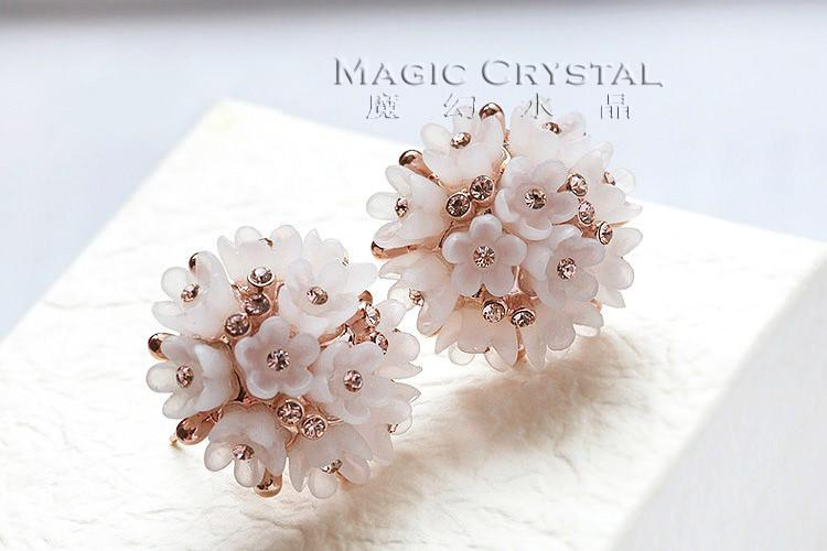 MOONROCY Rose Gold Color Austrian Crystal Necklace Earrings and Ring Jewelry Set flowerfor for women