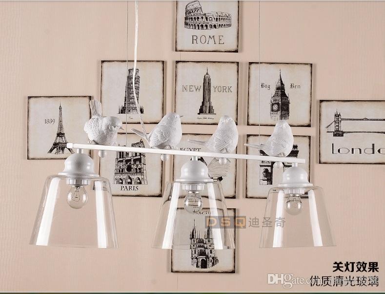 Recém LED 3L D200mm Moderno Nordic Estilo Criativo Breve Restaurante Luzes Pássaro Personalizado Rústico De Vidro Lâmpada Pingente Frete Grátis