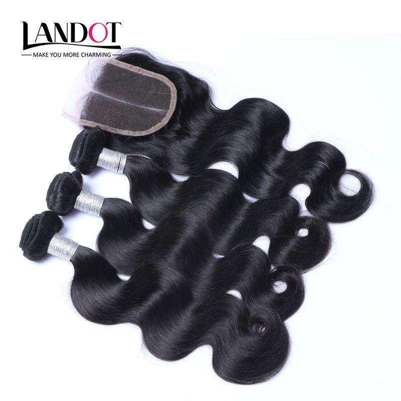 Топ кружева закрытие с 3 связки бразильского Виргинские волос ткет перуанский Малайзии Индийского Камбоджи бразильский объемная волна Реми человеческих волос утков
