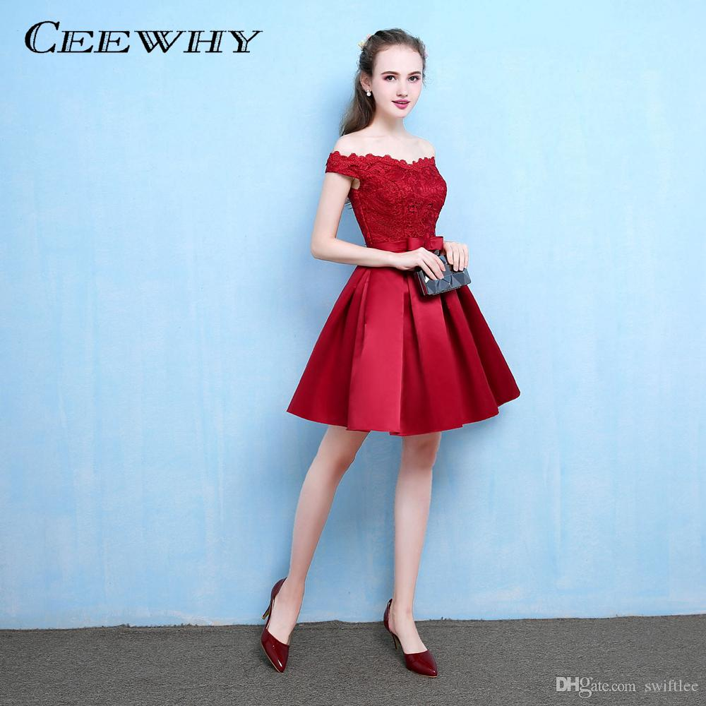 b7f12a246b5 CEEWHY Boat Neck Lace Party Dress Satin A-line Formal Dress Knee ...