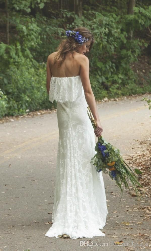 Boho Wedding Dress Vintage Full Lace Bridal Gowns Beach Garden Party Strapless Bohemian Bridal Gowns 1970s Brides Wear Sweep Train