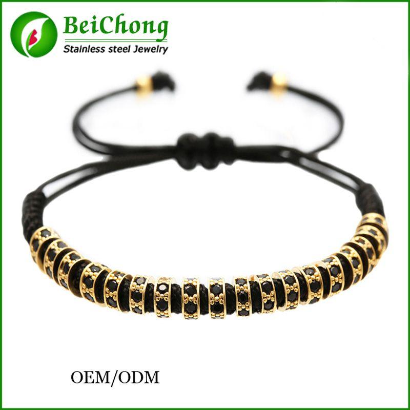 BC Anil Arjandas men's bracelet ,Pave Black CZ Zircon Connector Bead Braiding pulseiras feminina Macrame Bangle BC-0249