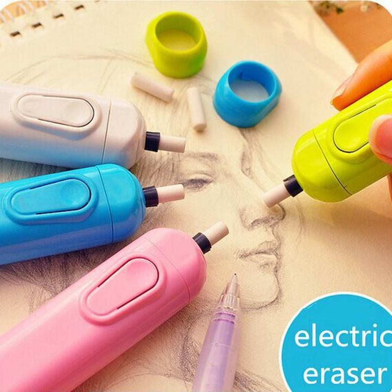 Wholesale-Derwent Battery Operated Eraser Electric Eraser Automatic School Supplies Leather Stationery Child Day Gift Material Escolar