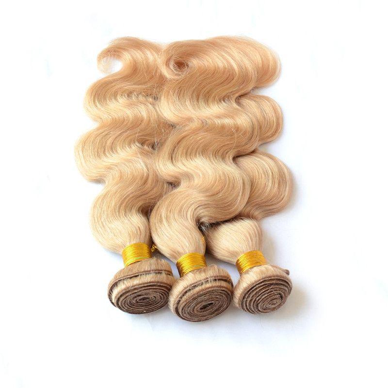 9A 버진 말레이시아 바디 웨이브 물결 모양의 허니 금발 인간의 머리카락 3Bundles # 27 Strawbery Blonde 말레이시아 버진 인간의 머리카락 직물 확장