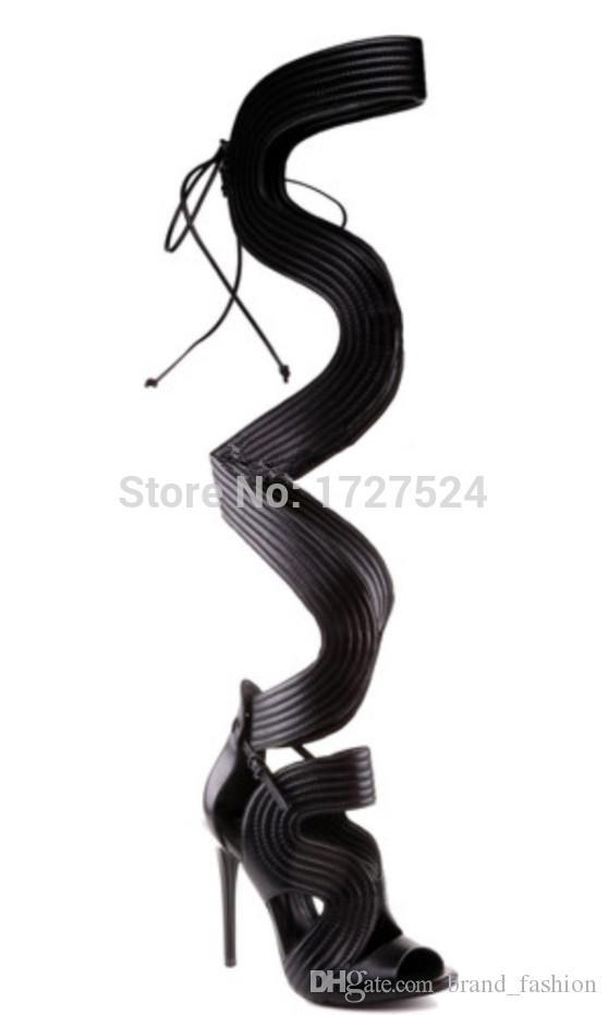 2016 сексуальный открытый носок выше колена высокие сандалии сапоги обувь женщина гладиатор на высоких каблуках Celebtiry зашнуровать бедро высокие сапоги летние сапоги