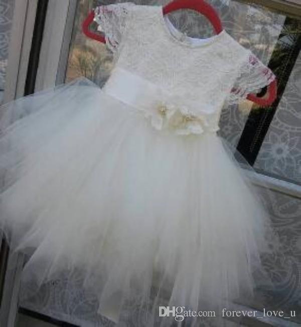Nette Prinzessin der Blumen-Mädchen-Kleider für Hochzeiten Kind-Partei-Kleid-Spitze-Tulle-Kappen-Hülsen-handgemachte Blumen-Schärpe nach Maß