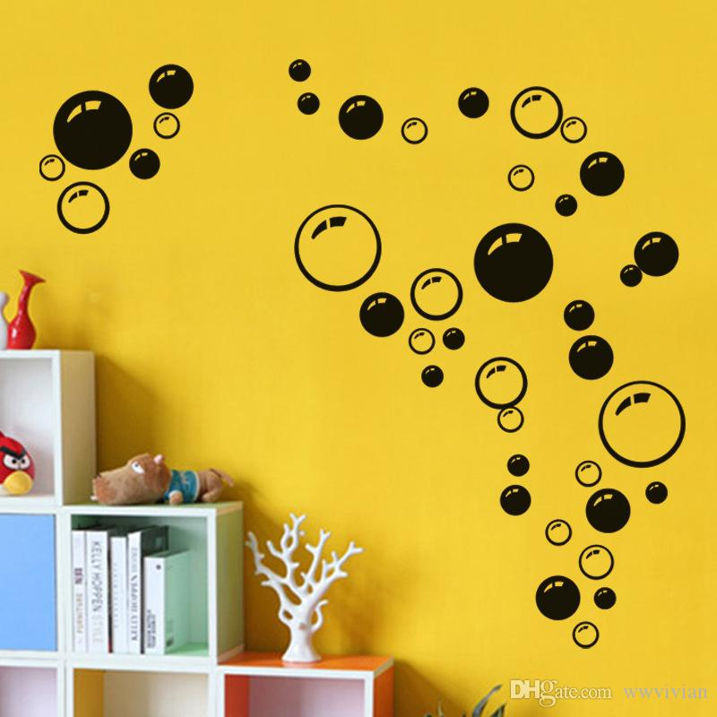 Colorful Circles Bathroom Window Glass Decor Wall Sticker Hot Selling Round Circle Wall Decal Kids Room Bubble Wallpaper Poster Wall Graphic