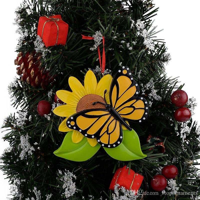 Resin Personalized Butterfly Christmas Ornaments With Sunflower As Craft Souvenir For Holiday Gifts or Home Decor
