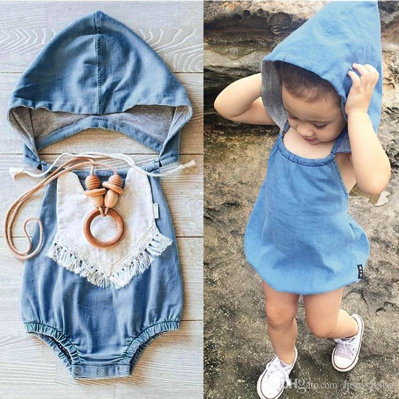 2018 2016 Infant Baby Girl And Boy Fake Denim Hooded Rompers Baby