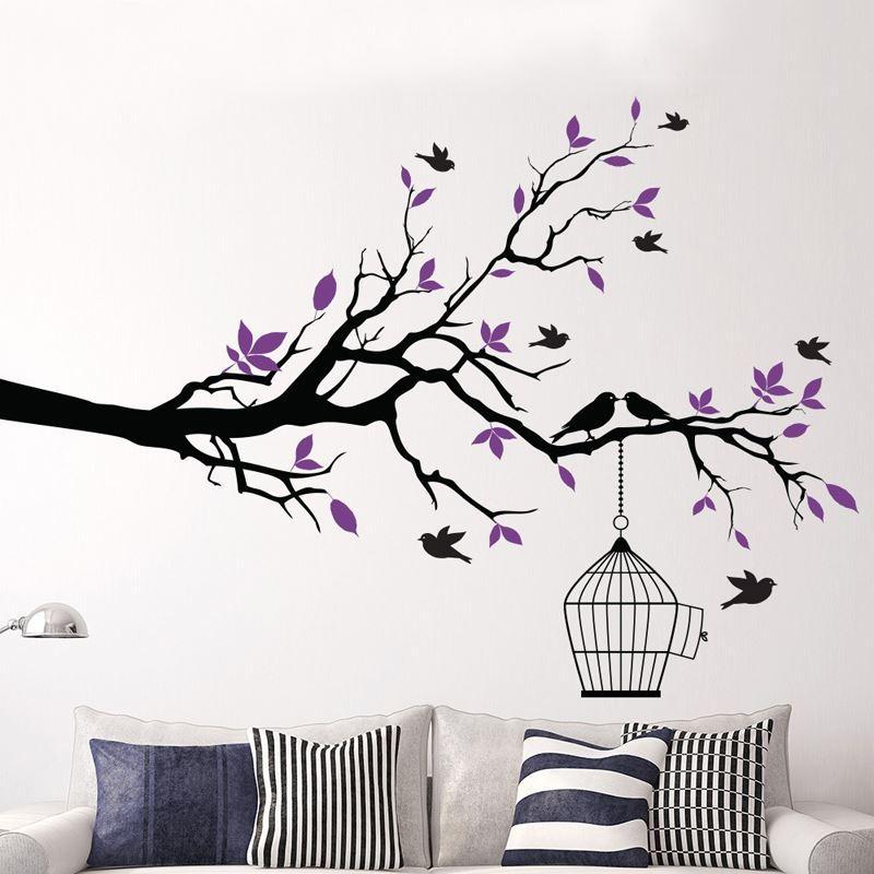 Tree Branch Wall Art mctum brand tree branch with bird cage vinyl wall art birds