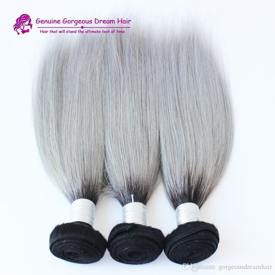 Brasilianisches Haar der Ankunft 3 brasilianisches ombre silbernes graues, das 1b / grau zwei Ton brasilianisches Menschenhaarverlängerungshaar bündelt