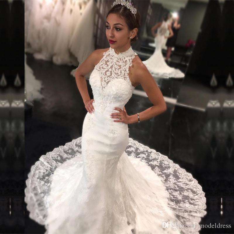 Charming Mermaid Lace Wedding Dresses 2018 High Neck Appliques Beaded Illusion Back Sleeveless Court Train Arabic Bridal Gowns Cheap Custom