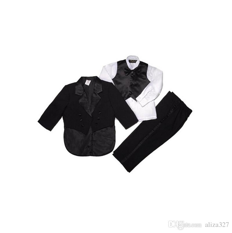 Boys formal suits three-piece boys wedding occasion suits tuxedo pure color double-breasted boys suitsjacket+pants+vest+bow tie