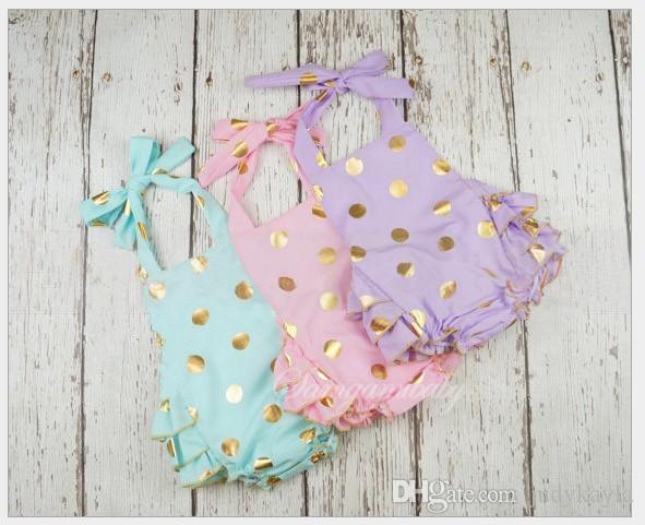 2016 sommer Säuglingskleidung Kleinkind Baby Gold Tupfen Spielanzug Kleid Baby Mädchen Sleeveless Prinzessin Birthday Dresses Overalls /