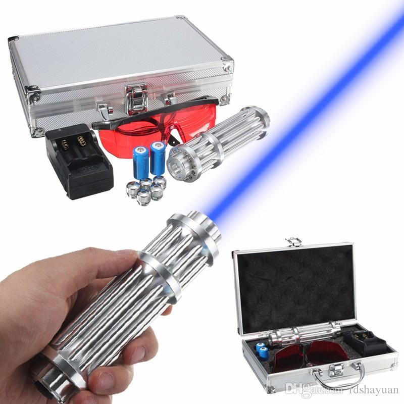 5 Watt Power Blue Light Laserpointer Einstellbare Brennpunkt Visible Beam Qualität Laser Modul 445nm-450nm + Ladegerät + Schutzbrillen