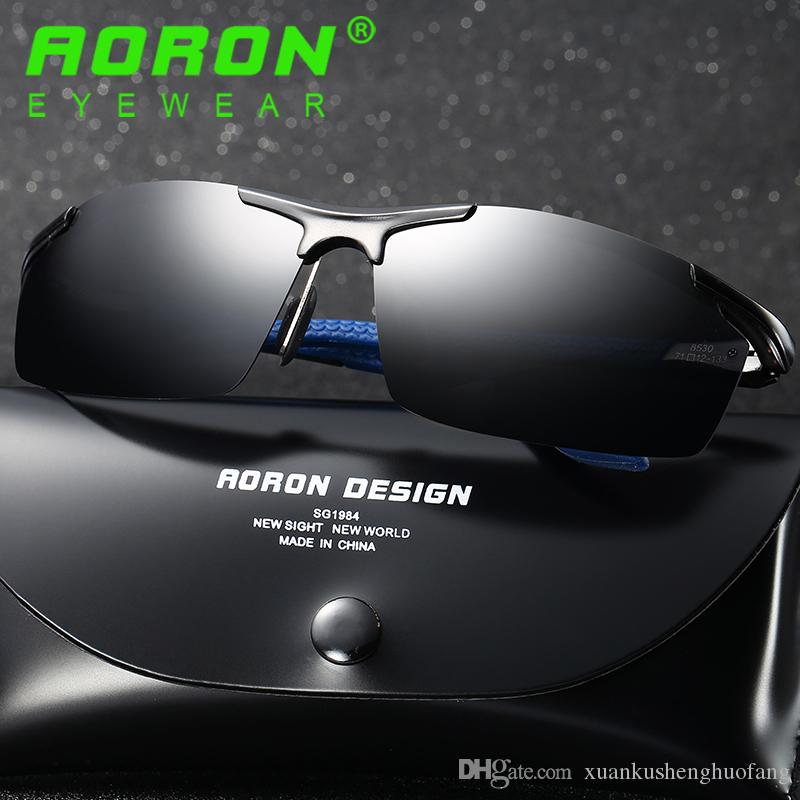 b0ddefba4f8 AORON Brand Aluminum Magnesium Polarized Sunglasses Rimless Rectangle  Driving HD Mirror Outdoor Sports Fashion Mens Sun Glasses For Men 8530  Cheap ...