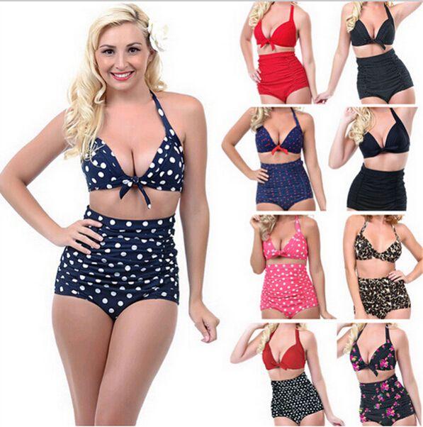 online cheap plus size bikini retro high waist bikini for fat