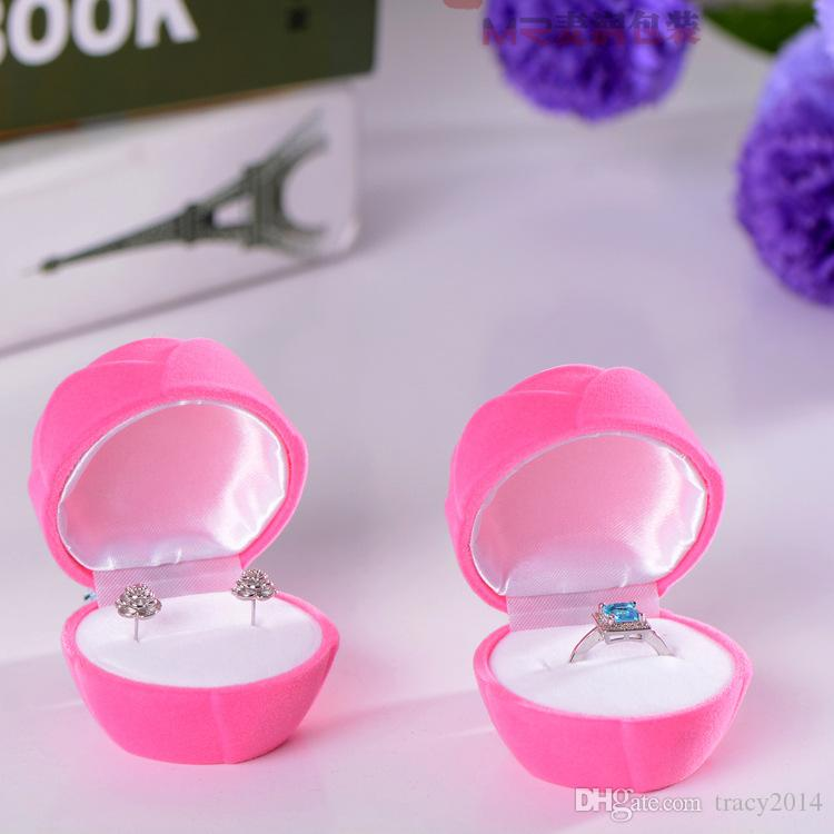 Ring box Novelty Velvet Storage Jewellery boxes for earrings wedding Gift Rose Flower Cartoons Fish Jewelry Box Packaging Display Christmas