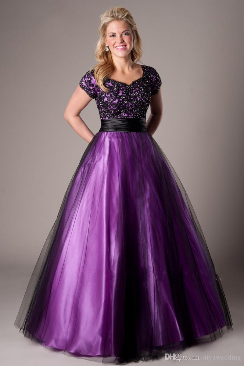 2018 Black Purple A Line Modest Prom Evening Dresses With
