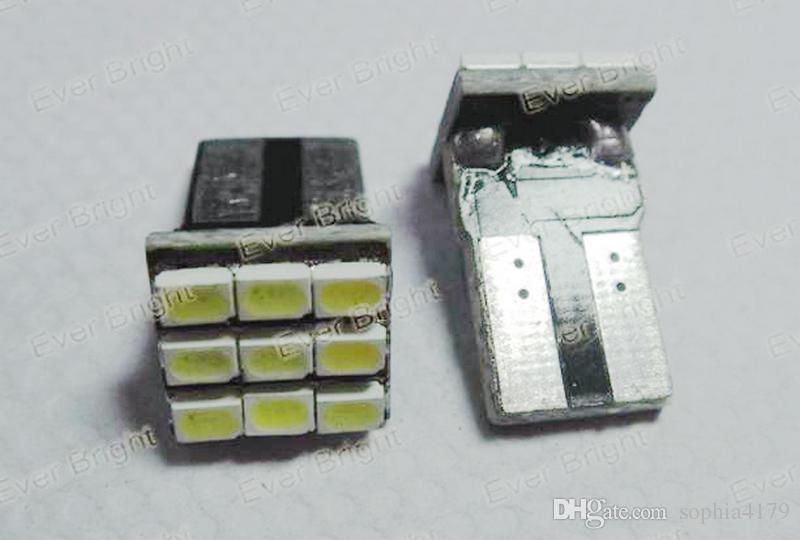 Alta calidad 100 unids T10 canbus 9 SMD1210 9 led Canbus Sin error lado Luz bombilla de luz trasera