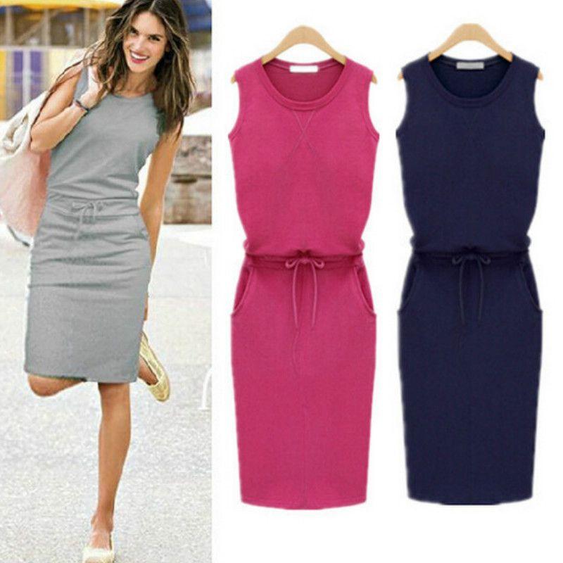 New Design Vestidos 2016 Summer Fashion Women Ladies Casual Dress Round  Neck Sleeveless Solid Slim Dresses Bodycon Elastic Waist Plus Size Black  Dresses ... f197eb290