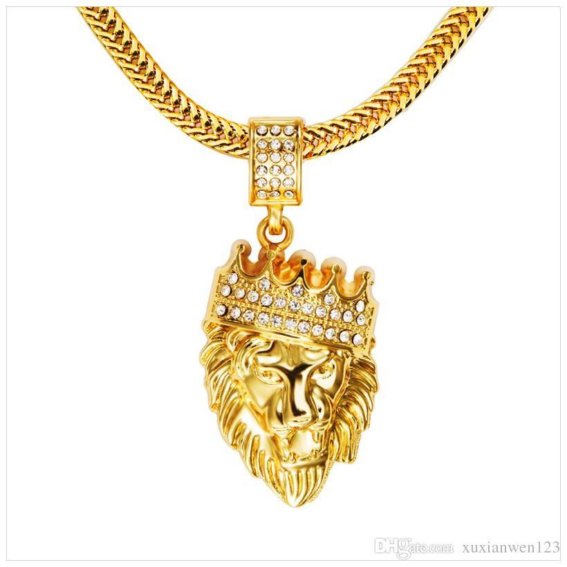 Hot Mens Hip Hop Jewelry Iced Out 18K chapado en oro de moda Bling Bling Lion Head colgante hombres collar de oro lleno de regalo / presente