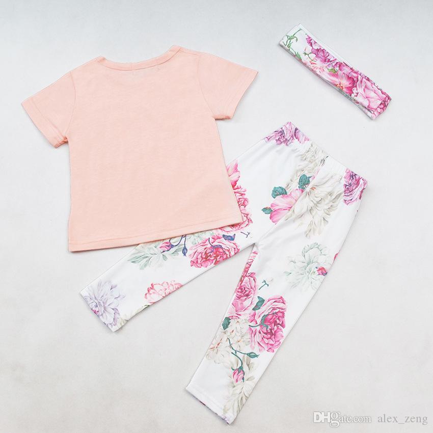 Bebek Kız pembe mektuplar baskılı T gömlek + çiçek tozluk + kafa 3 adet INS Yeni Yaz Prenses Setleri suits