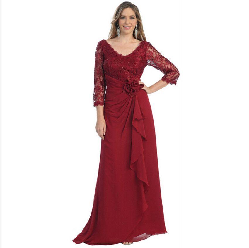 대부분의 영감을받은 부르고뉴 레이스 쉬폰 신부의 신부 드레스 3/4 슬리브 드레이프 플러스 사이즈 여성 웨딩 파티 드레스와 함께 저녁 착용