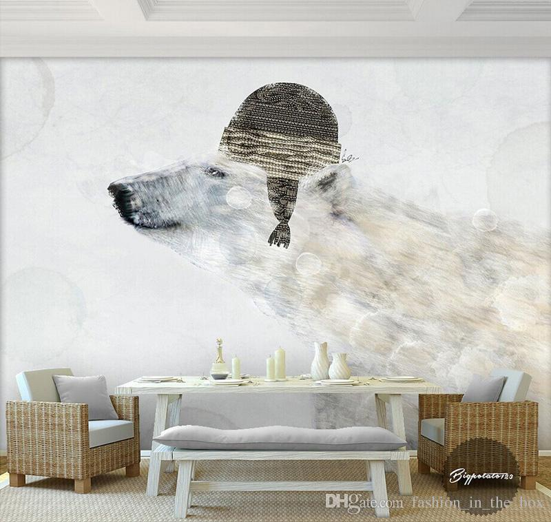 Cute Polar Bear Wallpaper Wall Mural 3D Cartoon Photo Wallpaper Kids Bedroom  Living Room Childrenu0027S Hospital TV Backdrop Wall 3D Wallpaper Girls  Wallpapers ...