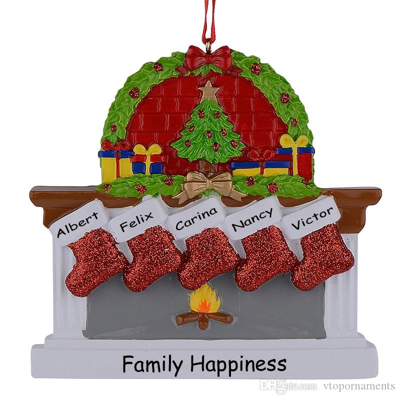 Resin Fireplace Sockings Family Of 5 Christmas Ornaments