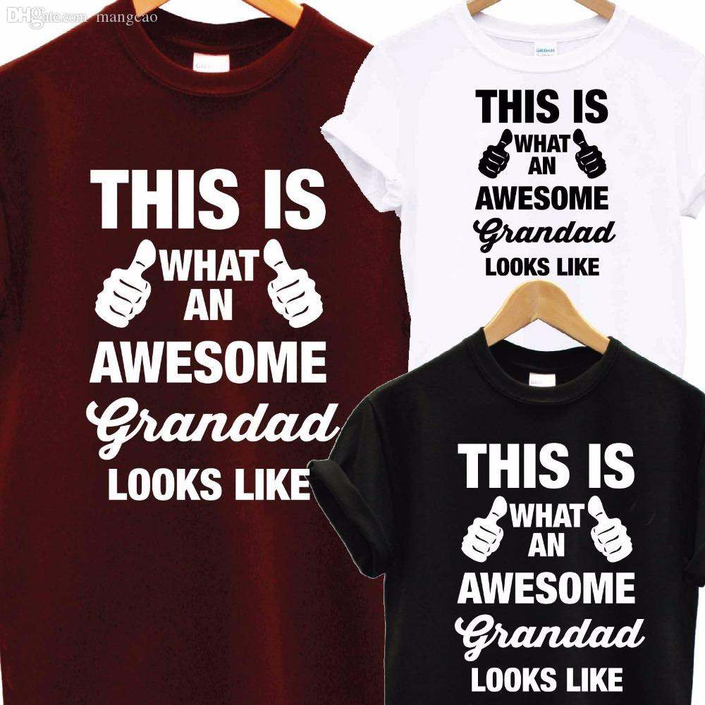 Wholesale Awesome Super Grandad DAD T Shirt Fathers Day XMAS Christmas Birthday Gift Top Men Funny Tops Tee Euro Size S XXXL Printing Of All