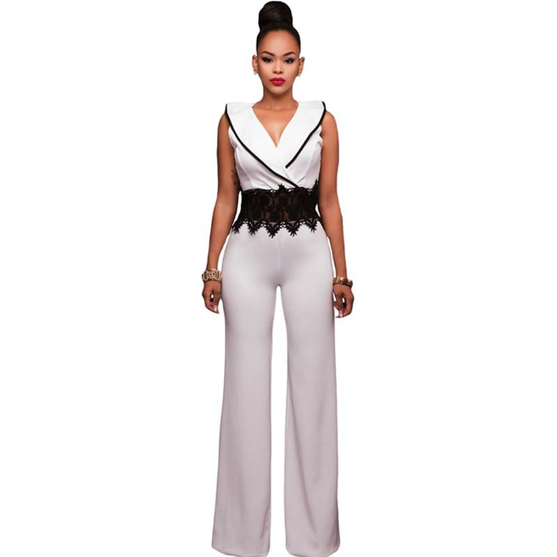 98dbeaae090f 2019 Wholesale 2017 New Wide Leg Jumpsuit Overalls Long Trousers Outfits  Fashion Women Black Contrast Lace Waist Insert Ladies Playsuits From  Splendid99