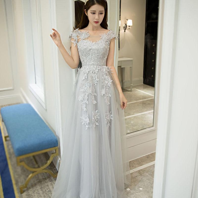 820dea31c4662 Vestido De Novia Fashion Elegant Grey Lace Flower Evening Dress The Bride  Long Banquet Prom Dress Custom Plus Size Formal Dress